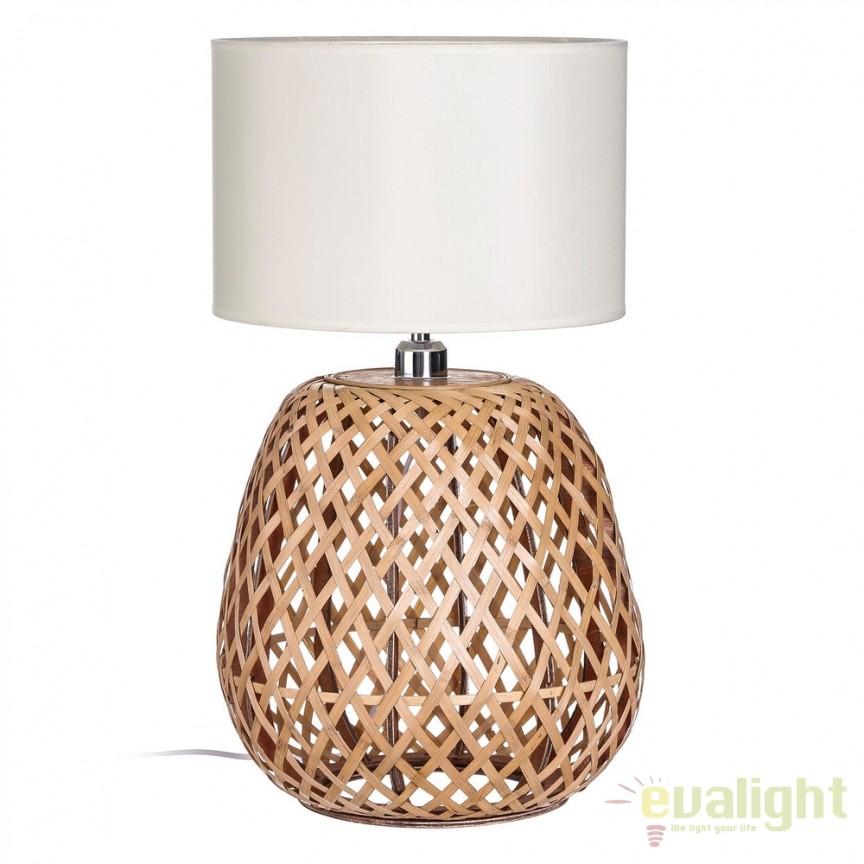 Veioza rustica / Lampa de masa decorativa BAMBU 103440, Veioze, Corpuri de iluminat, lustre, aplice, veioze, lampadare, plafoniere. Mobilier si decoratiuni, oglinzi, scaune, fotolii. Oferte speciale iluminat interior si exterior. Livram in toata tara.  a