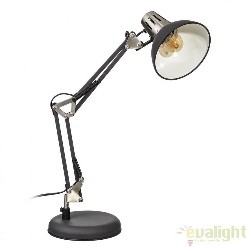 Lampa birou stil industrial ajustabila Oros negru SX-104323, Veioze de Birou moderne, Corpuri de iluminat, lustre, aplice, veioze, lampadare, plafoniere. Mobilier si decoratiuni, oglinzi, scaune, fotolii. Oferte speciale iluminat interior si exterior. Livram in toata tara.  a