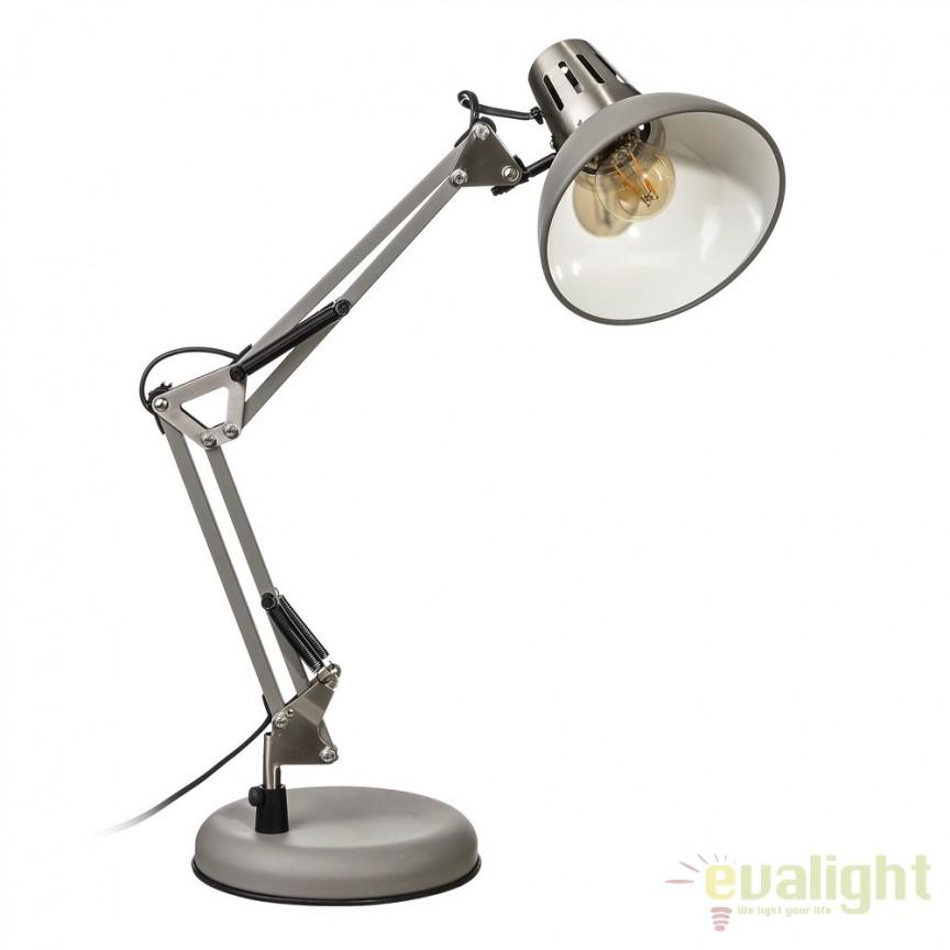 Lampa birou stil industrial ajustabila Oros gri SX-104322, Veioze de Birou moderne, Corpuri de iluminat, lustre, aplice, veioze, lampadare, plafoniere. Mobilier si decoratiuni, oglinzi, scaune, fotolii. Oferte speciale iluminat interior si exterior. Livram in toata tara.  a