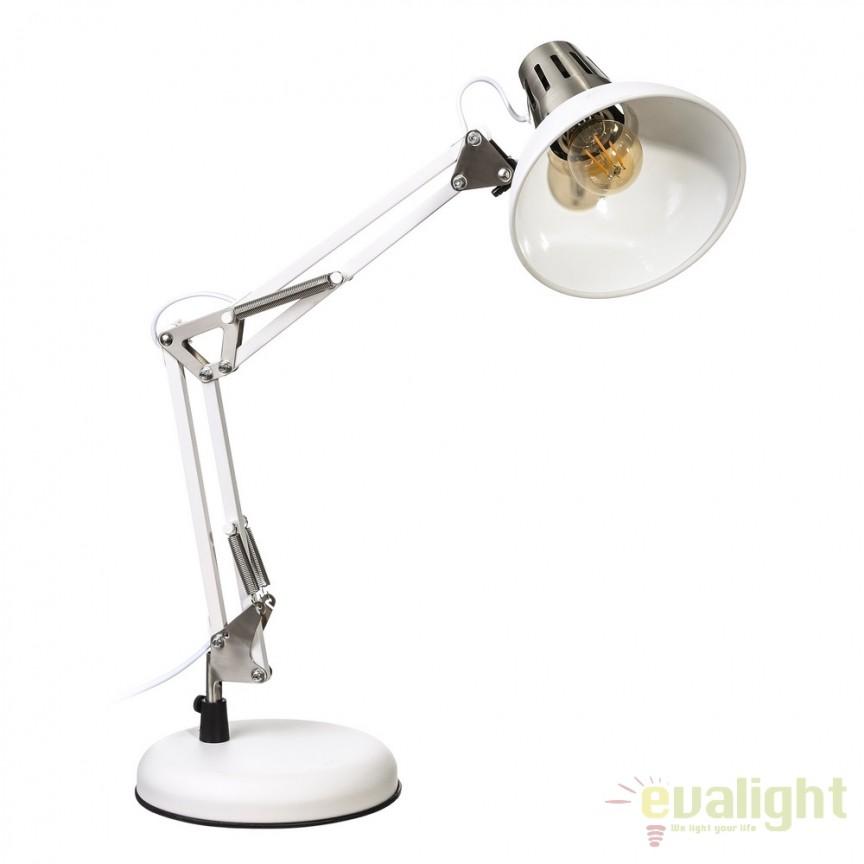 Lampa birou stil industrial ajustabila Oros alba SX-104321, Veioze de Birou moderne, Corpuri de iluminat, lustre, aplice, veioze, lampadare, plafoniere. Mobilier si decoratiuni, oglinzi, scaune, fotolii. Oferte speciale iluminat interior si exterior. Livram in toata tara.  a
