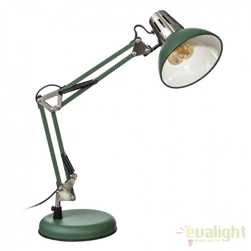 Lampa birou stil industrial ajustabila Oros verde SX-104324, Veioze de Birou moderne, Corpuri de iluminat, lustre, aplice, veioze, lampadare, plafoniere. Mobilier si decoratiuni, oglinzi, scaune, fotolii. Oferte speciale iluminat interior si exterior. Livram in toata tara.  a
