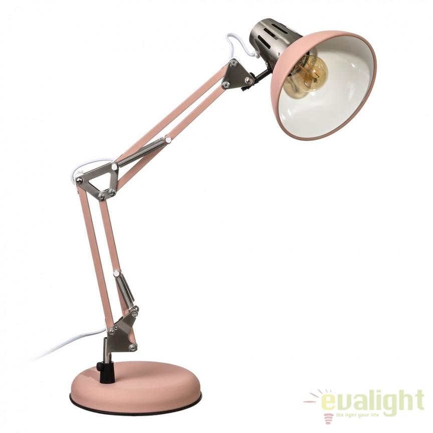 Lampa birou stil industrial ajustabila Oros roze SX-104325, Veioze de Birou moderne, Corpuri de iluminat, lustre, aplice, veioze, lampadare, plafoniere. Mobilier si decoratiuni, oglinzi, scaune, fotolii. Oferte speciale iluminat interior si exterior. Livram in toata tara.  a