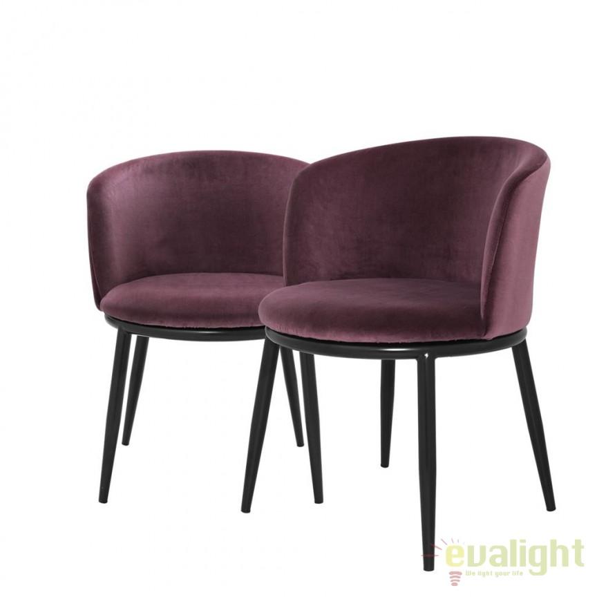 Set de 2 scaune design LUX din otel Filmore violet 111994 HZ, Scaune dining , Corpuri de iluminat, lustre, aplice, veioze, lampadare, plafoniere. Mobilier si decoratiuni, oglinzi, scaune, fotolii. Oferte speciale iluminat interior si exterior. Livram in toata tara.  a