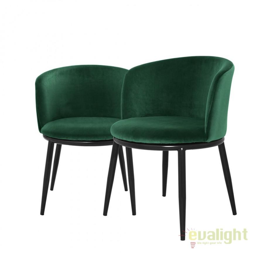 Set de 2 scaune design LUX din otel Filmore verde 111997 HZ, Scaune dining moderne⭐ modele tapitate de lux pentru pentru living, bucatarie, sufragerie din lemn in stil scandinav.✅DeSiGn elegant Top 2021❗ Magazin online ➽www.evalight.ro. Alege oferte la scaune tapitate catifea, stofa sau piele ecologica, clasice, retro sau vintage, stil industrial cu picioare metalice, brate din lemn cu spatar, ieftine de calitate deosebita la cel mai bun pret. a