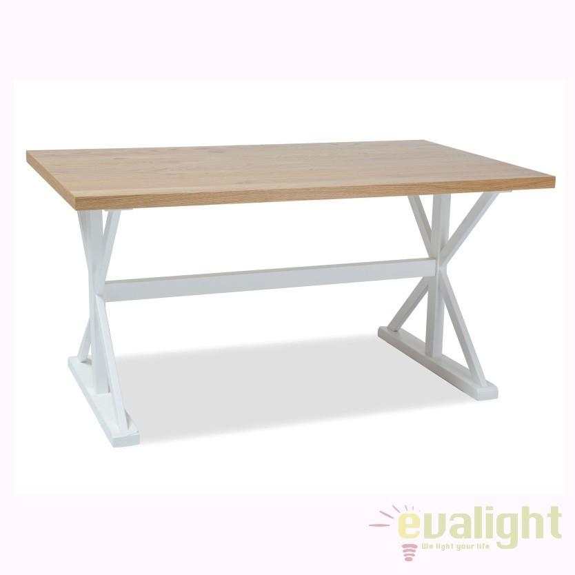 Masa din lemn design vintage OXFORD 150x90cm, OXFORDDB150 SM, Mese dining, Corpuri de iluminat, lustre, aplice, veioze, lampadare, plafoniere. Mobilier si decoratiuni, oglinzi, scaune, fotolii. Oferte speciale iluminat interior si exterior. Livram in toata tara.  a