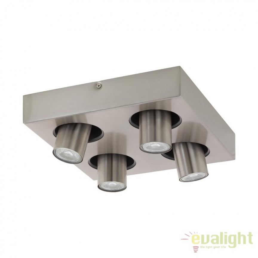 Plafoniera moderna din metal cu 4 spoturi, GU10-LED, ROBLEDO 1 96608 EL, Spoturi - iluminat - cu 4 spoturi, Corpuri de iluminat, lustre, aplice, veioze, lampadare, plafoniere. Mobilier si decoratiuni, oglinzi, scaune, fotolii. Oferte speciale iluminat interior si exterior. Livram in toata tara.  a
