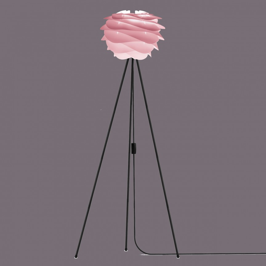 Lampadar modern cu trepied Carmina Mini, roz 2080+4016-negru VTC, PROMOTII, Corpuri de iluminat, lustre, aplice, veioze, lampadare, plafoniere. Mobilier si decoratiuni, oglinzi, scaune, fotolii. Oferte speciale iluminat interior si exterior. Livram in toata tara.  a
