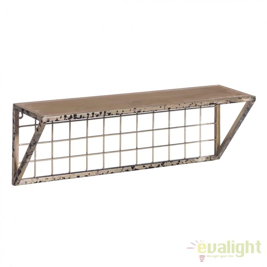 Raft design vintage din metal INDUSTRIAL 60x20cm auriu finisaj antic SX-103412, Vitrine - Rafturi, Corpuri de iluminat, lustre, aplice, veioze, lampadare, plafoniere. Mobilier si decoratiuni, oglinzi, scaune, fotolii. Oferte speciale iluminat interior si exterior. Livram in toata tara.  a