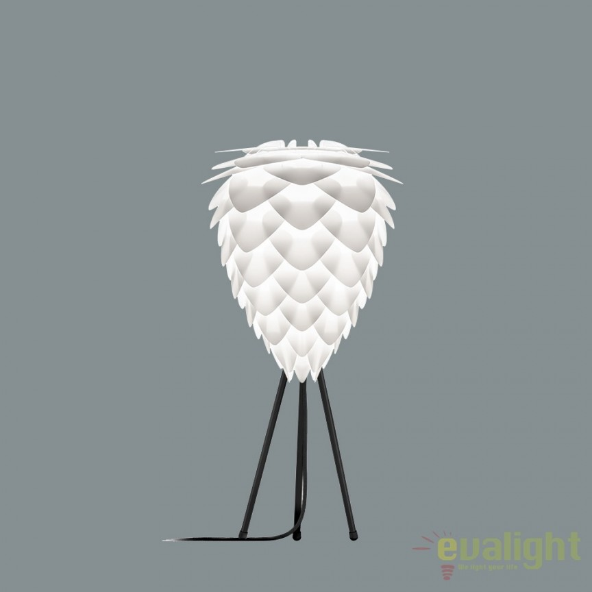 Veioza moderna cu trepied Conia 30cm, alb 2019+4022-negru VTC, Veioze, Lampi de masa, Corpuri de iluminat, lustre, aplice, veioze, lampadare, plafoniere. Mobilier si decoratiuni, oglinzi, scaune, fotolii. Oferte speciale iluminat interior si exterior. Livram in toata tara.  a