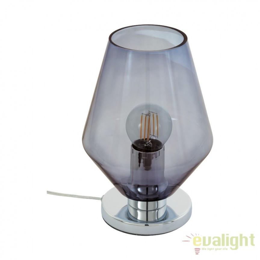 Veioza, lampa de masa design modern din sticla fumurie, diametru 17cm, MURMILLO 96773 EL, Veioze, Lampi de masa, Corpuri de iluminat, lustre, aplice, veioze, lampadare, plafoniere. Mobilier si decoratiuni, oglinzi, scaune, fotolii. Oferte speciale iluminat interior si exterior. Livram in toata tara.  a