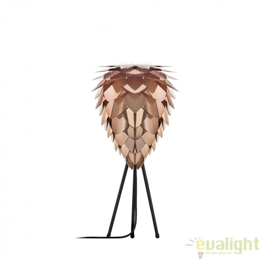 Veioza moderna Conia diametru 30cm, cupru 2033+4022-negru VTC, Veioze, Lampi de masa, Corpuri de iluminat, lustre, aplice, veioze, lampadare, plafoniere. Mobilier si decoratiuni, oglinzi, scaune, fotolii. Oferte speciale iluminat interior si exterior. Livram in toata tara.  a