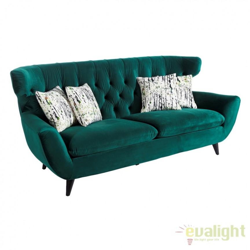 Canapea fixa 3 locuri, confortabila design elegant, Ardely verde DZ-103267, Canapele - Coltare, Corpuri de iluminat, lustre, aplice, veioze, lampadare, plafoniere. Mobilier si decoratiuni, oglinzi, scaune, fotolii. Oferte speciale iluminat interior si exterior. Livram in toata tara.  a
