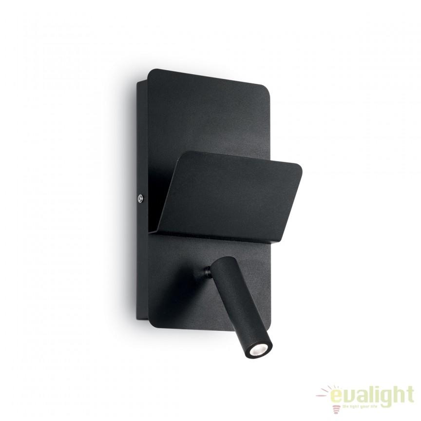 Aplica perete LED moderna reader directionabil cu port USB READ AP1 neagra 176550, Aplice de perete LED, moderne⭐ modele potrivite pentru dormitor, living, baie, hol, bucatarie.✅DeSiGn LED decorativ 2021!❤️Promotii lampi❗ ➽ www.evalight.ro. Alege oferte NOI corpuri de iluminat cu LED pt interior, elegante din cristal (becuri cu leduri si module LED integrate cu lumina calda, naturala sau rece), ieftine si de lux, calitate deosebita la cel mai bun pret.  a