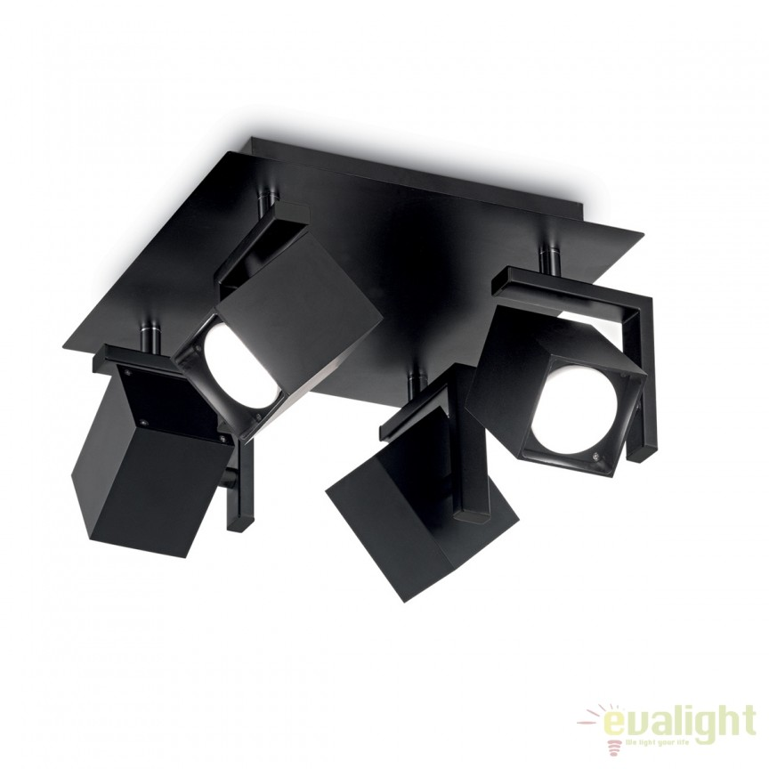 Plafoniera design modern cu 4 spoturi directionabile MOUSE PL4 neagra 156712, Plafoniere moderne, Corpuri de iluminat, lustre, aplice, veioze, lampadare, plafoniere. Mobilier si decoratiuni, oglinzi, scaune, fotolii. Oferte speciale iluminat interior si exterior. Livram in toata tara.  a