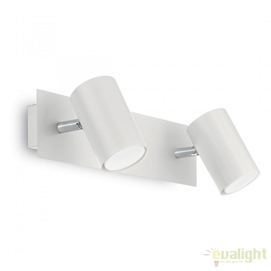 Aplica perete design modern minimalist SPOT AP2 alba 156736, Spoturi - iluminat - cu 2 spoturi, Corpuri de iluminat, lustre, aplice, veioze, lampadare, plafoniere. Mobilier si decoratiuni, oglinzi, scaune, fotolii. Oferte speciale iluminat interior si exterior. Livram in toata tara.  a