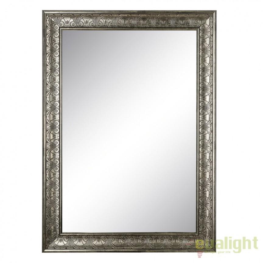 Oglinda decorativa finisaj argintiu antichizat PLATA, 76x106cm SX-103702, Oglinzi decorative, Corpuri de iluminat, lustre, aplice, veioze, lampadare, plafoniere. Mobilier si decoratiuni, oglinzi, scaune, fotolii. Oferte speciale iluminat interior si exterior. Livram in toata tara.  a