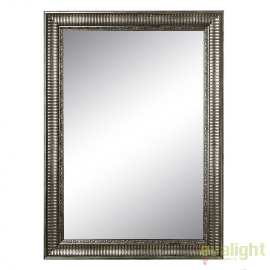 Oglinda decorativa finisaj argintiu antichizat PLATA, 76x106cm SX-103706, Oglinzi decorative, Corpuri de iluminat, lustre, aplice, veioze, lampadare, plafoniere. Mobilier si decoratiuni, oglinzi, scaune, fotolii. Oferte speciale iluminat interior si exterior. Livram in toata tara.  a