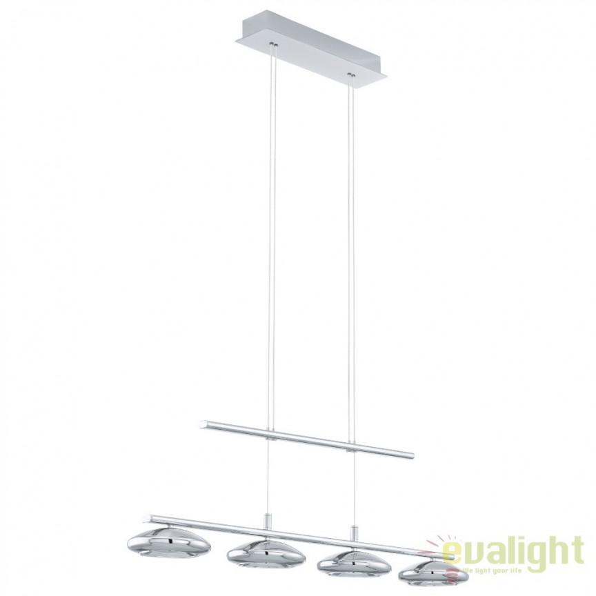 Lustra cu 4 pendule suspendate, inaltime reglabila, design modern din metal crom, LED TARUGO 1 96511 EL, Lustre LED, Pendule LED, Corpuri de iluminat, lustre, aplice, veioze, lampadare, plafoniere. Mobilier si decoratiuni, oglinzi, scaune, fotolii. Oferte speciale iluminat interior si exterior. Livram in toata tara.  a
