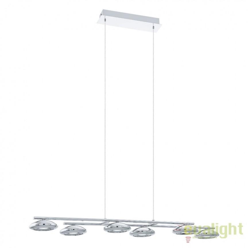 Lustra cu 6 pendule suspendate, design modern din metal crom, LED TARUGO 1 96512 EL, Lustre LED, Pendule LED, Corpuri de iluminat, lustre, aplice, veioze, lampadare, plafoniere. Mobilier si decoratiuni, oglinzi, scaune, fotolii. Oferte speciale iluminat interior si exterior. Livram in toata tara.  a