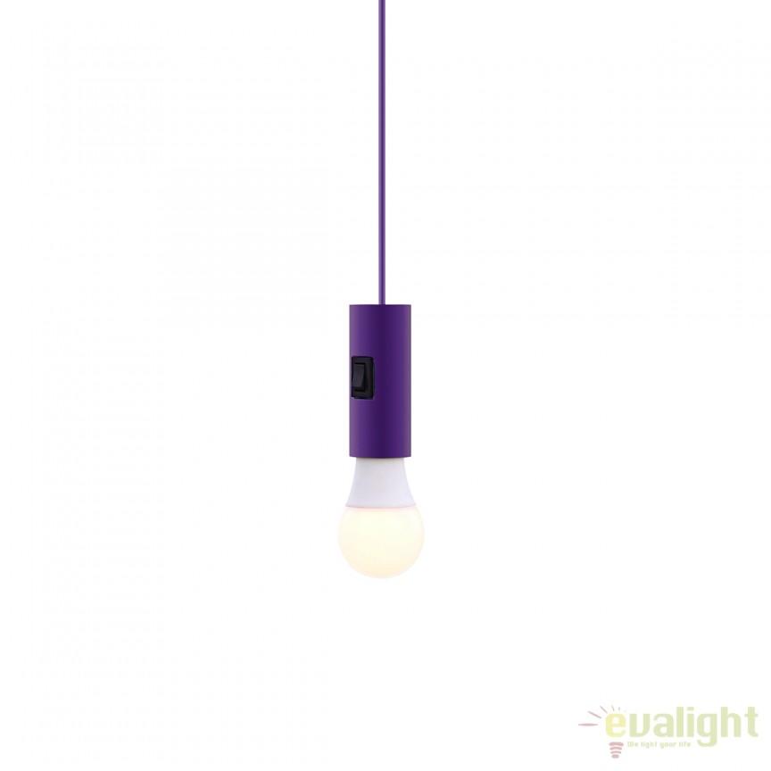 Pendul modern minimalist cu intrerupator integrat SKYLINE mov 15141, Outlet, Corpuri de iluminat, lustre, aplice, veioze, lampadare, plafoniere. Mobilier si decoratiuni, oglinzi, scaune, fotolii. Oferte speciale iluminat interior si exterior. Livram in toata tara.  a