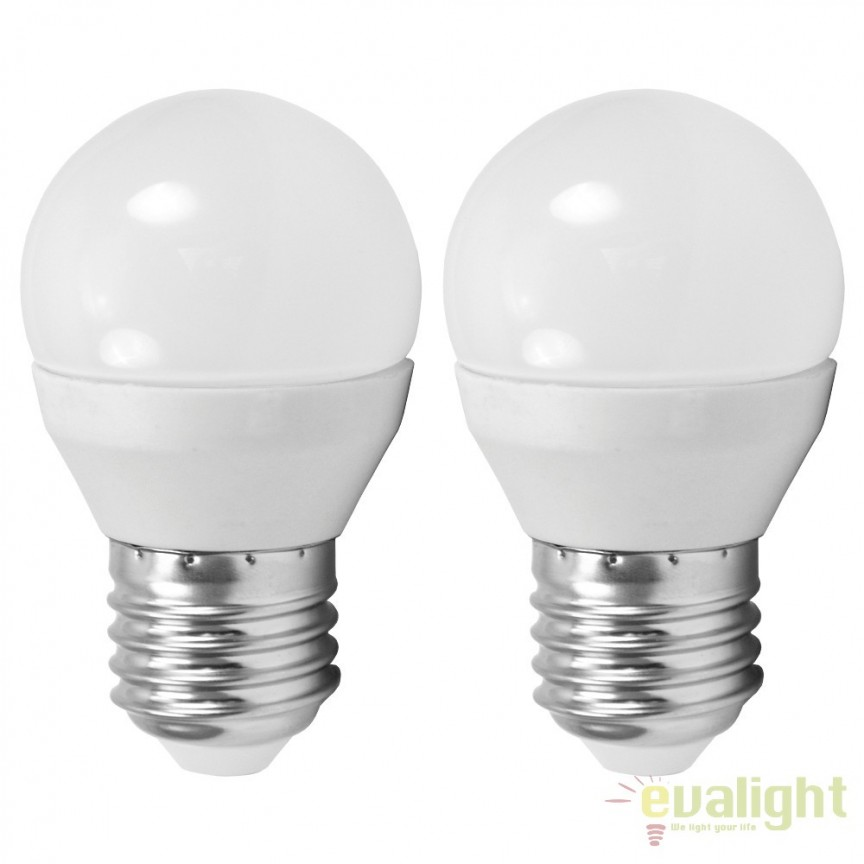Set 2 becuri E27-LED-G45 4W 320 lm 4000K 10778 EL, Magazin, Corpuri de iluminat, lustre, aplice, veioze, lampadare, plafoniere. Mobilier si decoratiuni, oglinzi, scaune, fotolii. Oferte speciale iluminat interior si exterior. Livram in toata tara.  a