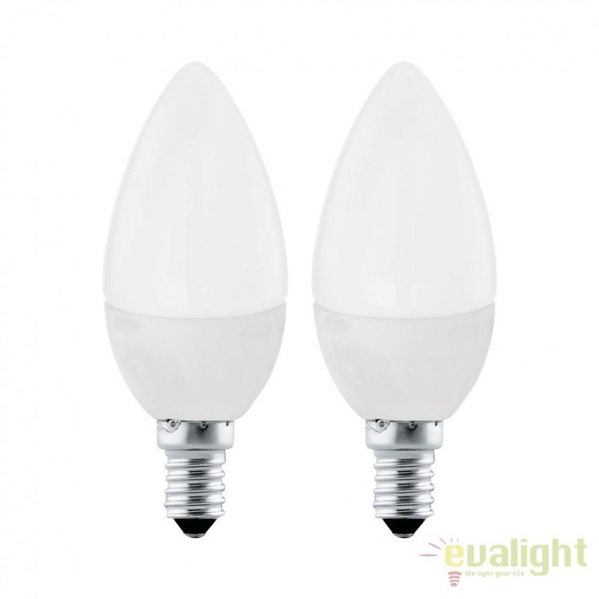 Set 2 becuri E14-LED-C37 4W 320 lm 3000K 10792 EL, Magazin, Corpuri de iluminat, lustre, aplice, veioze, lampadare, plafoniere. Mobilier si decoratiuni, oglinzi, scaune, fotolii. Oferte speciale iluminat interior si exterior. Livram in toata tara.  a