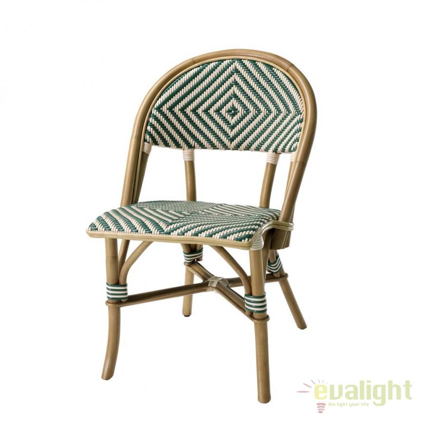 Scaun design LUX din lemn de ratan Café Flore verde 111979 HZ, Scaune dining , Corpuri de iluminat, lustre, aplice, veioze, lampadare, plafoniere. Mobilier si decoratiuni, oglinzi, scaune, fotolii. Oferte speciale iluminat interior si exterior. Livram in toata tara.  a