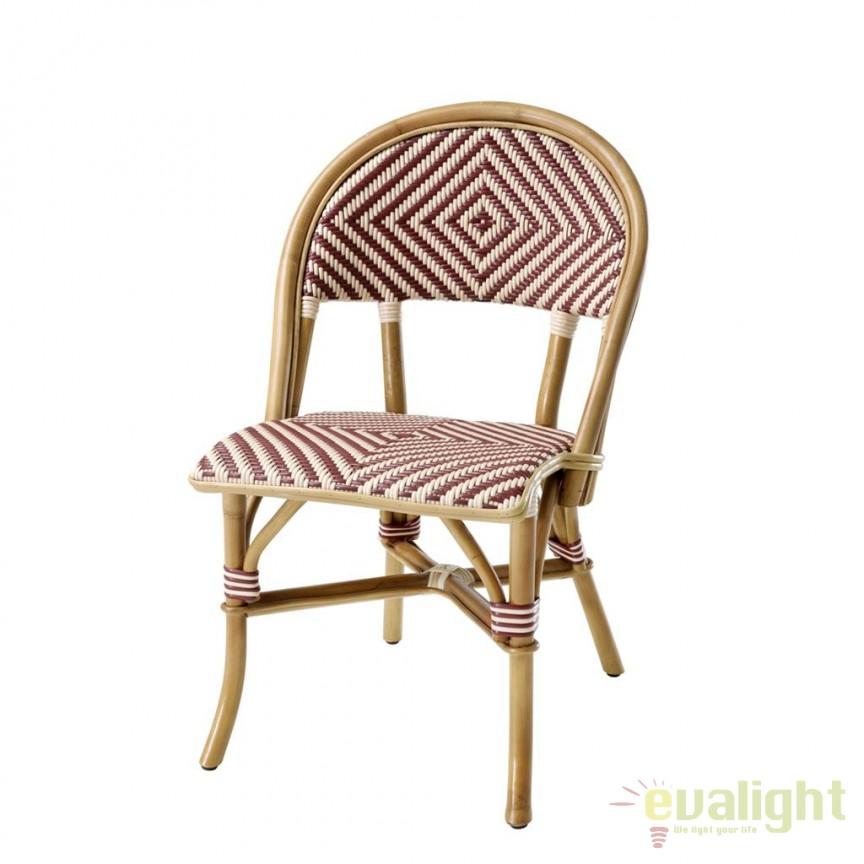 Scaun design LUX din lemn de ratan Café Flore visiniu 111675 HZ, Scaune dining , Corpuri de iluminat, lustre, aplice, veioze, lampadare, plafoniere. Mobilier si decoratiuni, oglinzi, scaune, fotolii. Oferte speciale iluminat interior si exterior. Livram in toata tara.  a