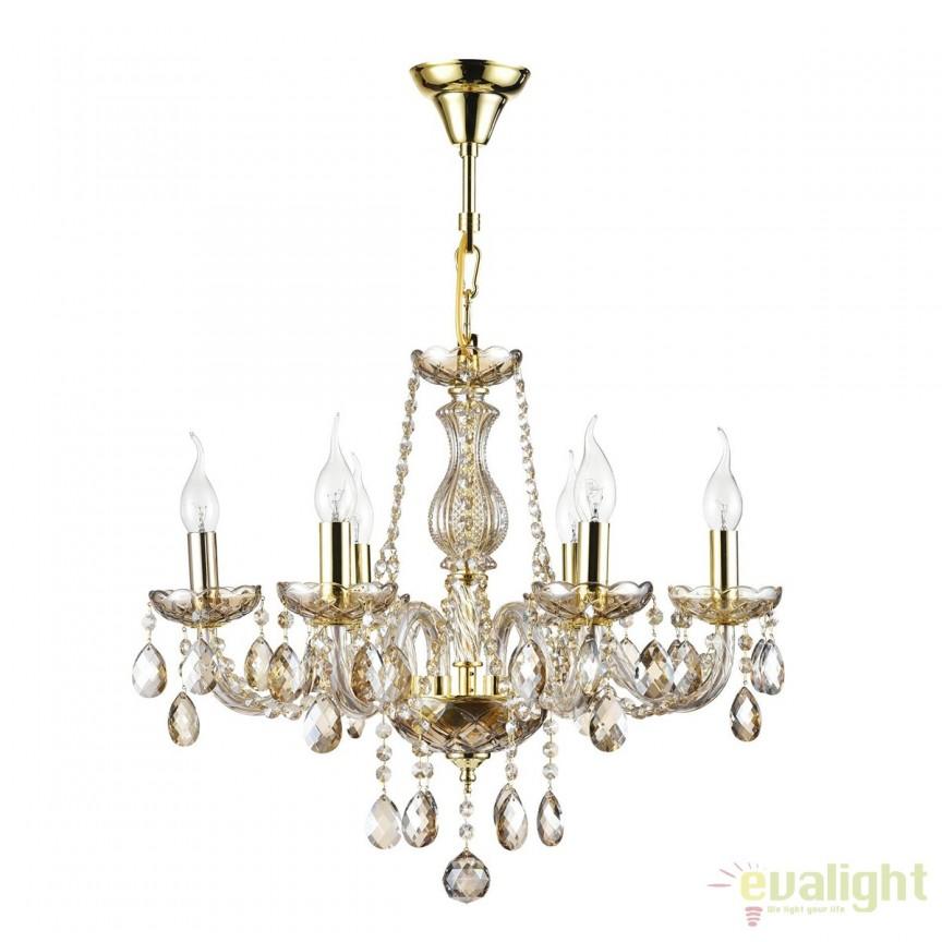 Candelabru cristal elegant cu 6 brate Brandy MYDIA937-PL-06-G, Magazin, Corpuri de iluminat, lustre, aplice, veioze, lampadare, plafoniere. Mobilier si decoratiuni, oglinzi, scaune, fotolii. Oferte speciale iluminat interior si exterior. Livram in toata tara.  a