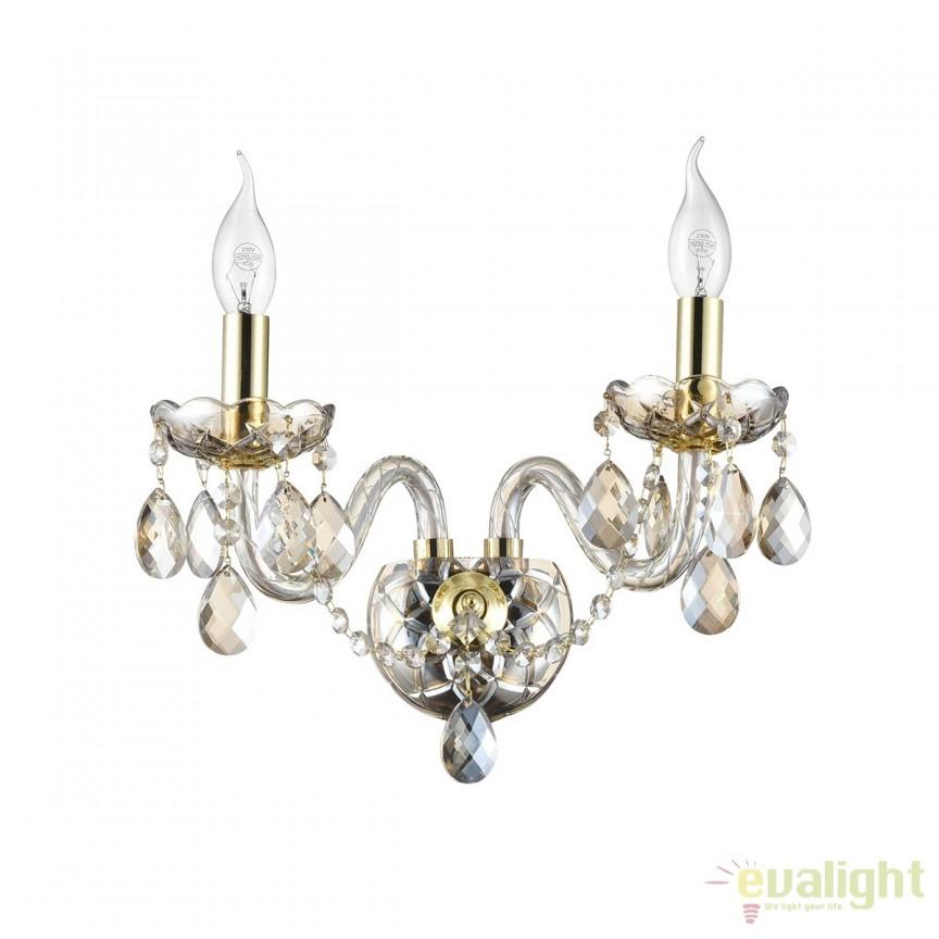 Aplica cristal eleganta cu 2 brate Brandy MYDIA937-WL-02-G , Aplice de perete clasice, Corpuri de iluminat, lustre, aplice, veioze, lampadare, plafoniere. Mobilier si decoratiuni, oglinzi, scaune, fotolii. Oferte speciale iluminat interior si exterior. Livram in toata tara.  a