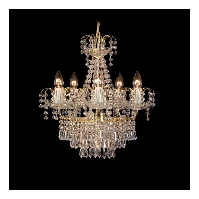 Candelabru elegant cristal cu 5 brate Bohemia, 46cm L15 268/05/3, Candelabre, Lustre Cristal Bohemia, Corpuri de iluminat, lustre, aplice, veioze, lampadare, plafoniere. Mobilier si decoratiuni, oglinzi, scaune, fotolii. Oferte speciale iluminat interior si exterior. Livram in toata tara.  a