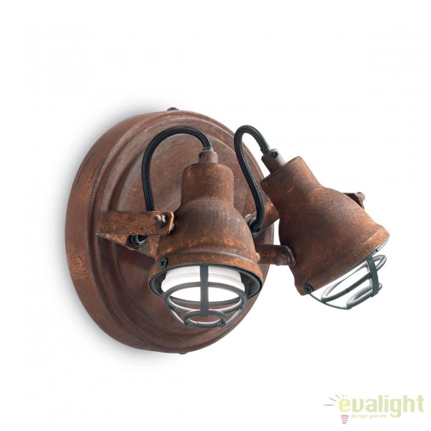 Aplica design rustic din metal finisaj ruginiu BOB MINI AP2 156408, Spoturi - iluminat - cu 2 spoturi, Corpuri de iluminat, lustre, aplice, veioze, lampadare, plafoniere. Mobilier si decoratiuni, oglinzi, scaune, fotolii. Oferte speciale iluminat interior si exterior. Livram in toata tara.  a
