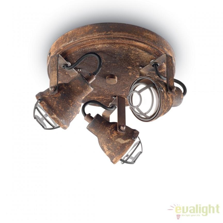 Aplica perete sau tavan, design rustic din metal finisaj ruginiu BOB MINI PL3 156415, Spoturi - iluminat - cu 3 spoturi, Corpuri de iluminat, lustre, aplice, veioze, lampadare, plafoniere. Mobilier si decoratiuni, oglinzi, scaune, fotolii. Oferte speciale iluminat interior si exterior. Livram in toata tara.  a