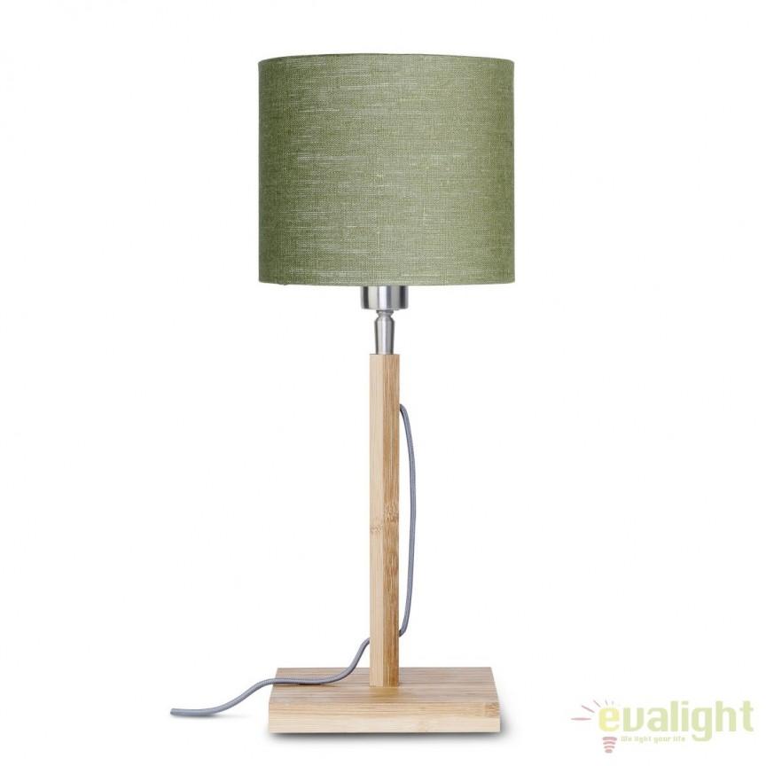 Veioza moderna cu baza din lemn si abajur textil FUJI, verde FUJI/T/1815/GF, Veioze, Lampi de masa, Corpuri de iluminat, lustre, aplice, veioze, lampadare, plafoniere. Mobilier si decoratiuni, oglinzi, scaune, fotolii. Oferte speciale iluminat interior si exterior. Livram in toata tara.  a