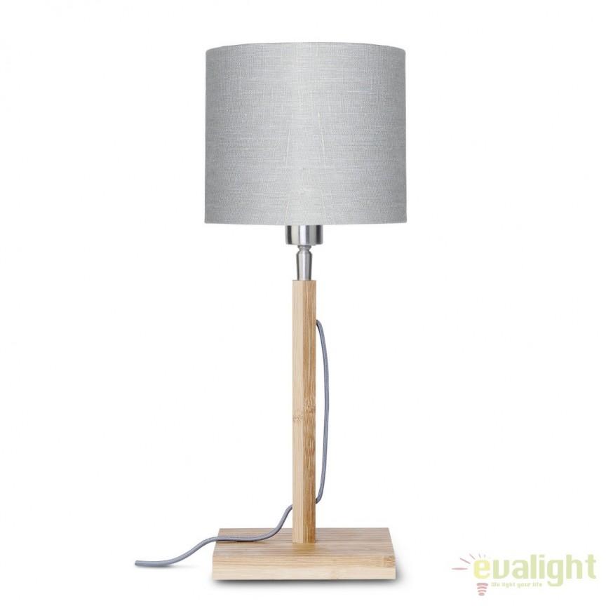 Veioza moderna cu baza din lemn si abajur textil FUJI, gri deschis FUJI/T/1815/LG, Veioze, Lampi de masa, Corpuri de iluminat, lustre, aplice, veioze, lampadare, plafoniere. Mobilier si decoratiuni, oglinzi, scaune, fotolii. Oferte speciale iluminat interior si exterior. Livram in toata tara.  a