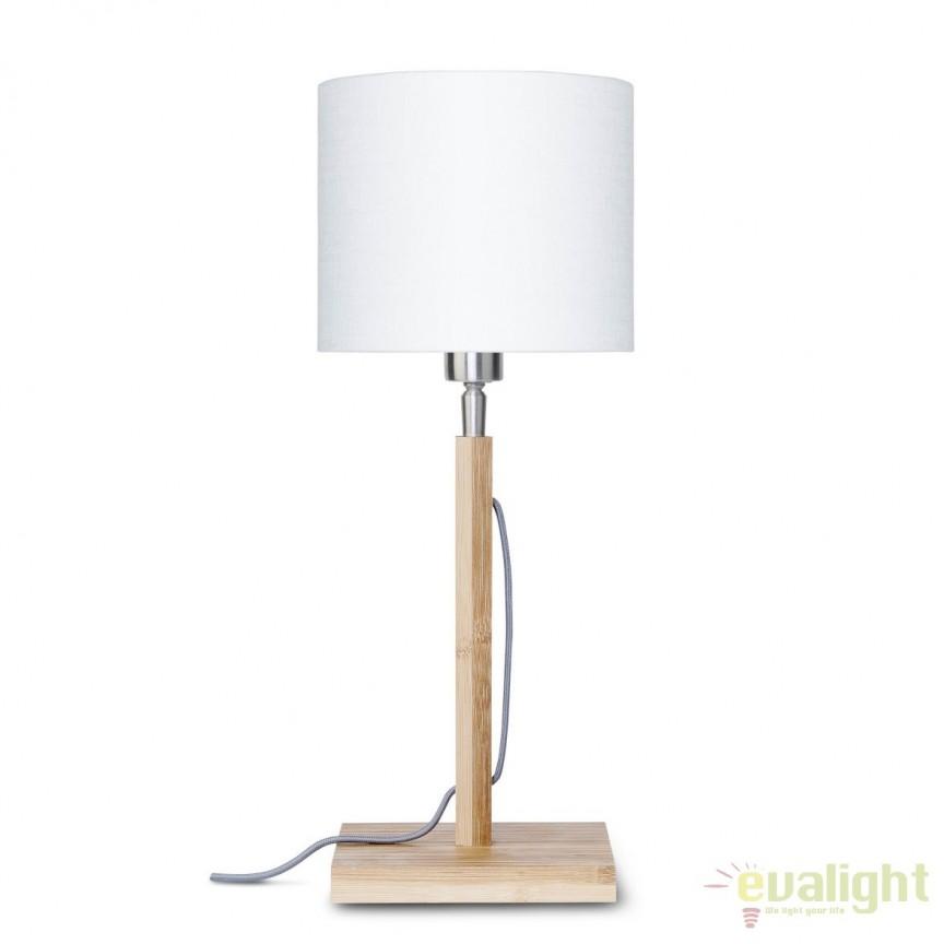 Veioza moderna cu baza din lemn si abajur textil FUJI, alb FUJI/T/1815/W, Veioze, Lampi de masa, Corpuri de iluminat, lustre, aplice, veioze, lampadare, plafoniere. Mobilier si decoratiuni, oglinzi, scaune, fotolii. Oferte speciale iluminat interior si exterior. Livram in toata tara.  a
