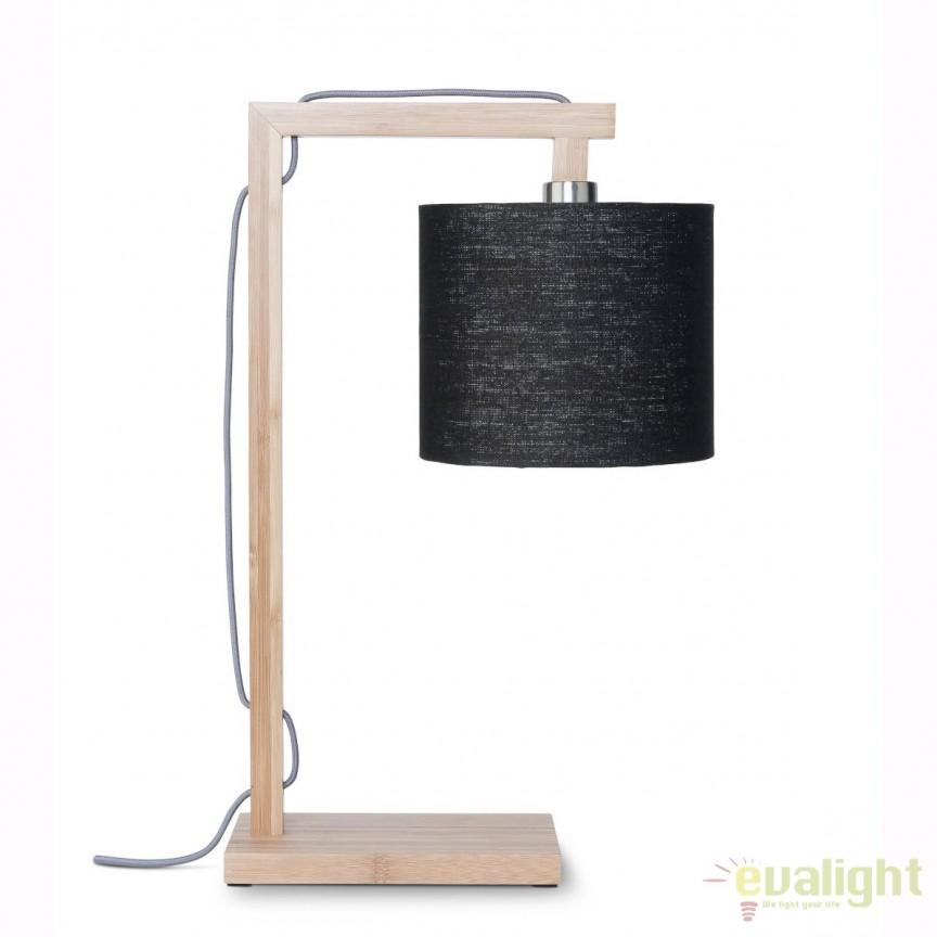 Lampa de masa moderna cu baza din lemn de bambus, HIMALAYA, negru HIMALAYA/T/1815/B, Veioze, Lampi de masa, Corpuri de iluminat, lustre, aplice, veioze, lampadare, plafoniere. Mobilier si decoratiuni, oglinzi, scaune, fotolii. Oferte speciale iluminat interior si exterior. Livram in toata tara.  a