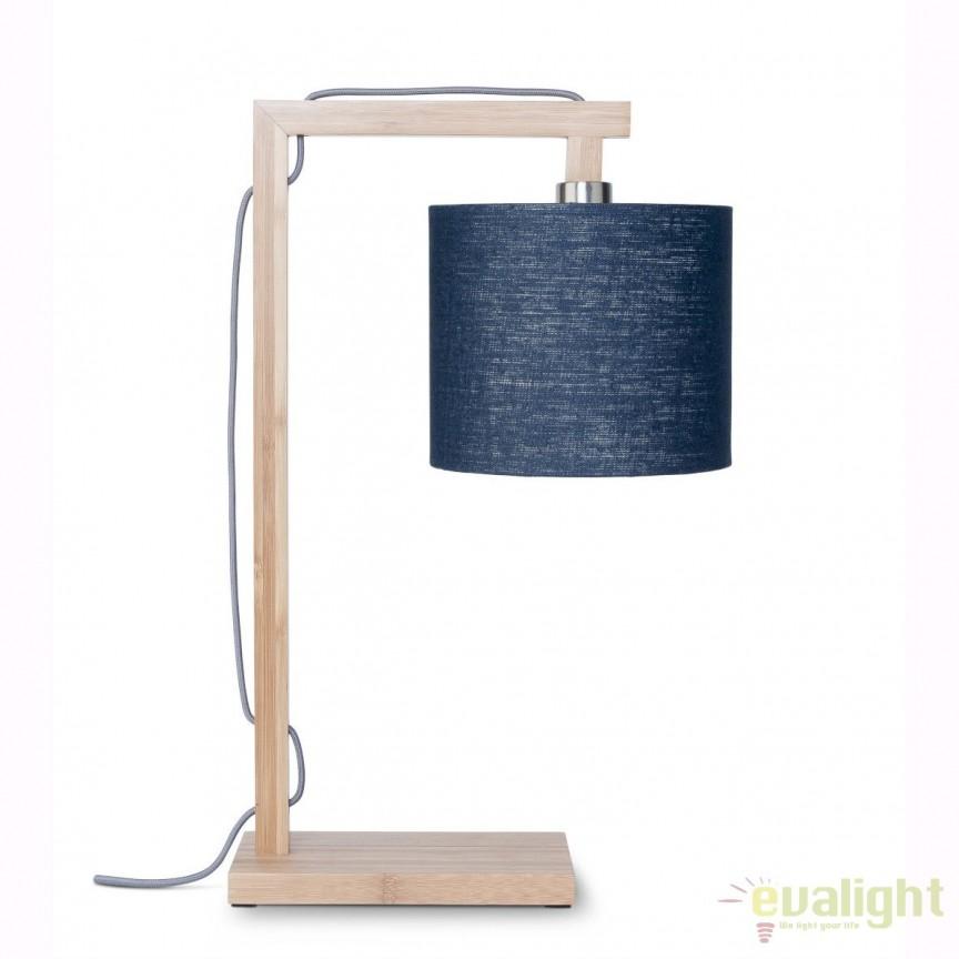 Lampa de masa moderna cu baza din lemn de bambus, HIMALAYA, albastru HIMALAYA/T/1815/B, Veioze, Lampi de masa, Corpuri de iluminat, lustre, aplice, veioze, lampadare, plafoniere. Mobilier si decoratiuni, oglinzi, scaune, fotolii. Oferte speciale iluminat interior si exterior. Livram in toata tara.  a