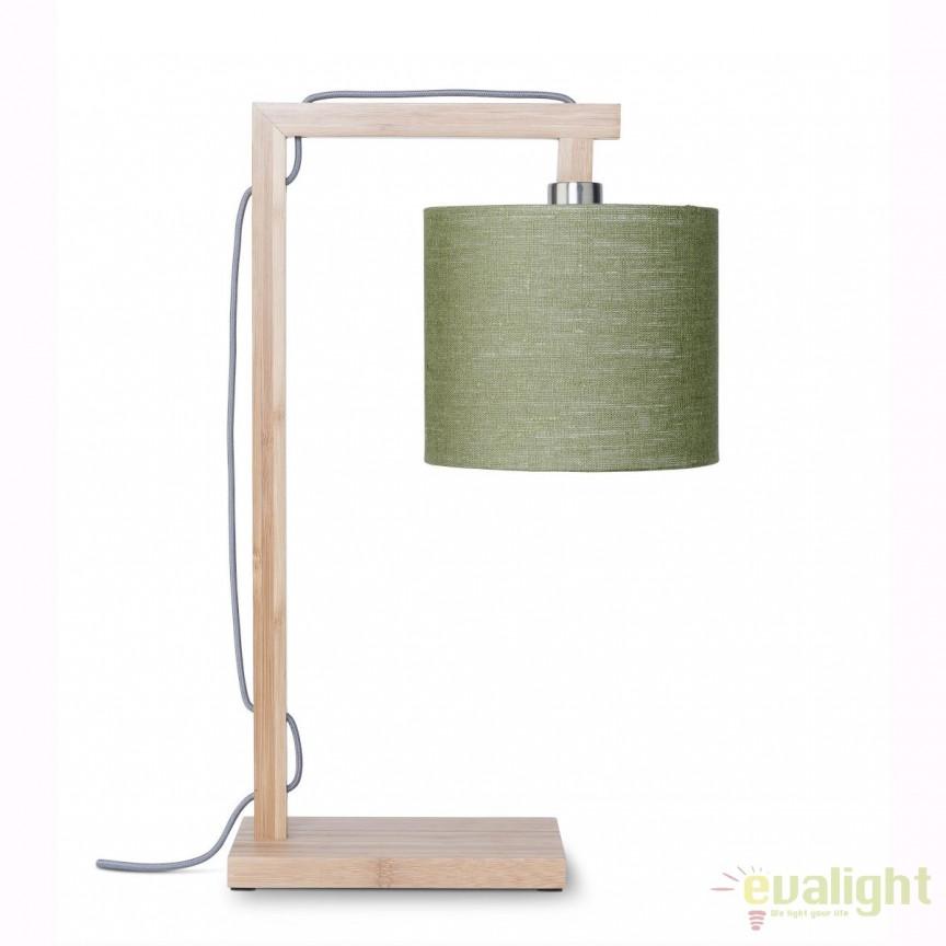 Lampa de masa moderna cu baza din lemn de bambus, HIMALAYA, verde HIMALAYA/T/1815/GF, Veioze, Lampi de masa, Corpuri de iluminat, lustre, aplice, veioze, lampadare, plafoniere. Mobilier si decoratiuni, oglinzi, scaune, fotolii. Oferte speciale iluminat interior si exterior. Livram in toata tara.  a