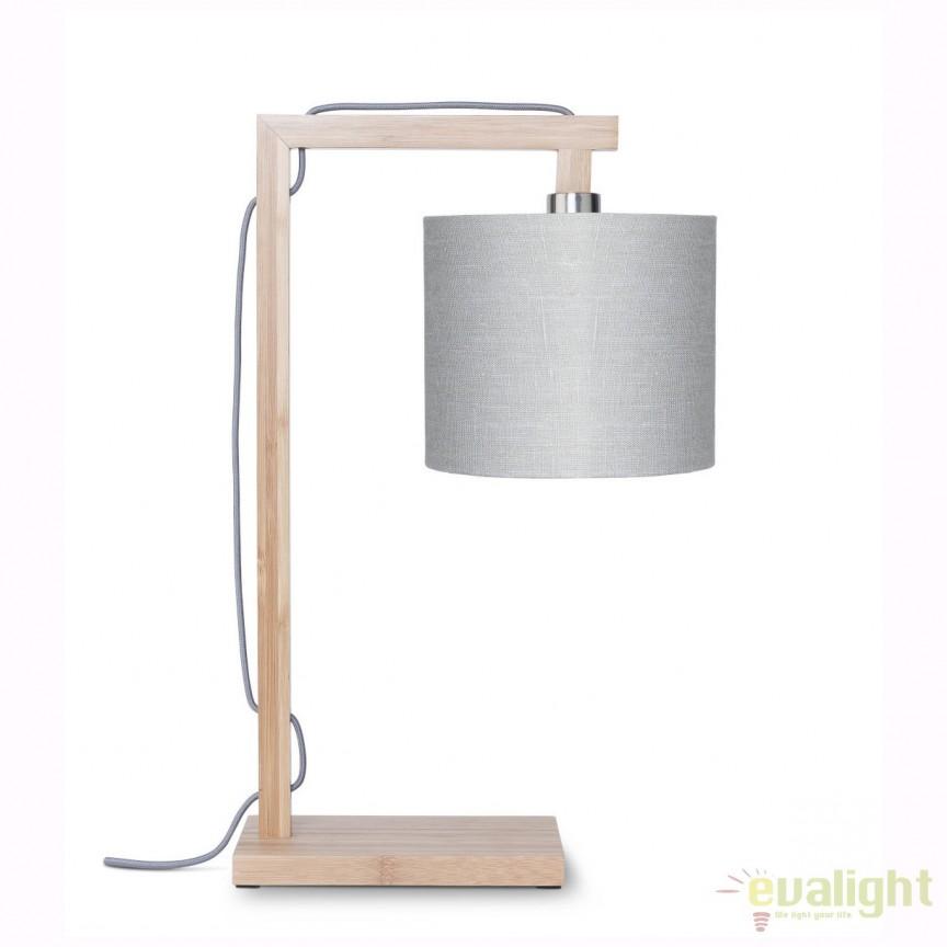Lampa de masa moderna cu baza din lemn de bambus, HIMALAYA, gri deschis HIMALAYA/T/1815/LG, Veioze, Lampi de masa, Corpuri de iluminat, lustre, aplice, veioze, lampadare, plafoniere. Mobilier si decoratiuni, oglinzi, scaune, fotolii. Oferte speciale iluminat interior si exterior. Livram in toata tara.  a
