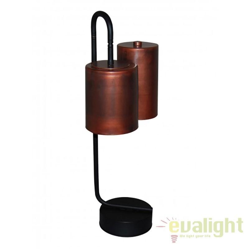 Veioza design industrial HL-3567-2P BRODY OLD COOPER & BLACK 77-3993 HL, Veioze, Lampi de masa, Corpuri de iluminat, lustre, aplice, veioze, lampadare, plafoniere. Mobilier si decoratiuni, oglinzi, scaune, fotolii. Oferte speciale iluminat interior si exterior. Livram in toata tara.  a