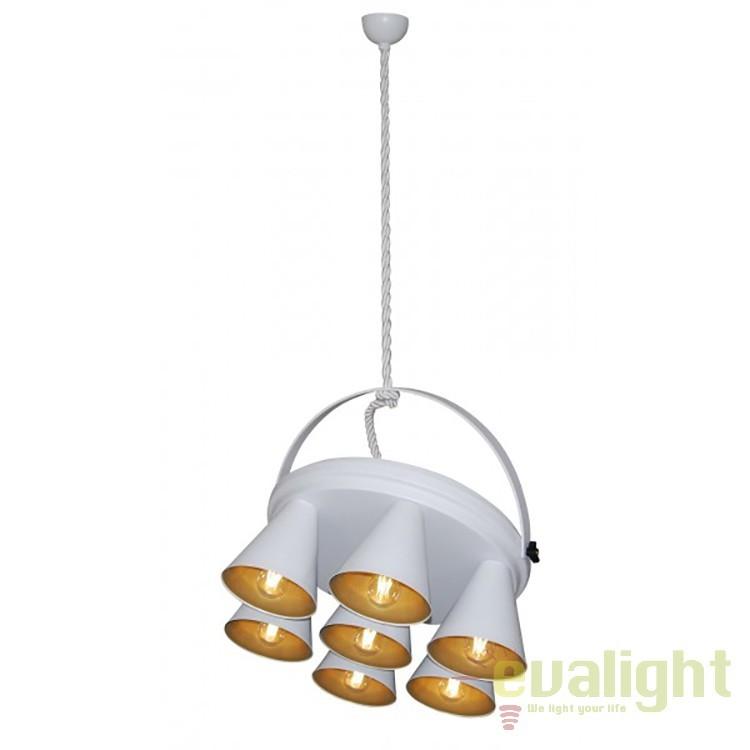 Lustra design industrial HL-3578-1A BRANDON WHITE & MAT GOLD 77-3998 HL, NOU ! Lustre VINTAGE, RETRO, INDUSTRIA Style, Corpuri de iluminat, lustre, aplice, veioze, lampadare, plafoniere. Mobilier si decoratiuni, oglinzi, scaune, fotolii. Oferte speciale iluminat interior si exterior. Livram in toata tara.  a