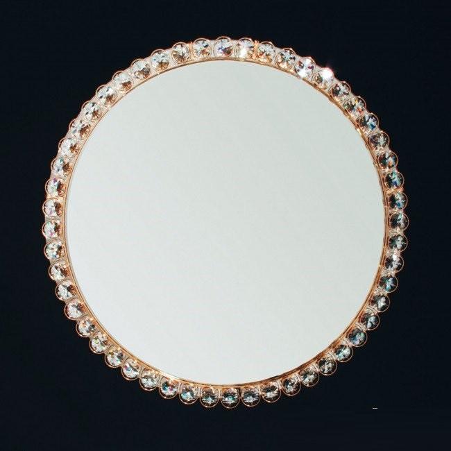 Oglinda eleganta decorata cu cristale Lauro auriu, 60cm 13K/605.01.002 OR, Oglinzi decorative, Corpuri de iluminat, lustre, aplice, veioze, lampadare, plafoniere. Mobilier si decoratiuni, oglinzi, scaune, fotolii. Oferte speciale iluminat interior si exterior. Livram in toata tara.  a