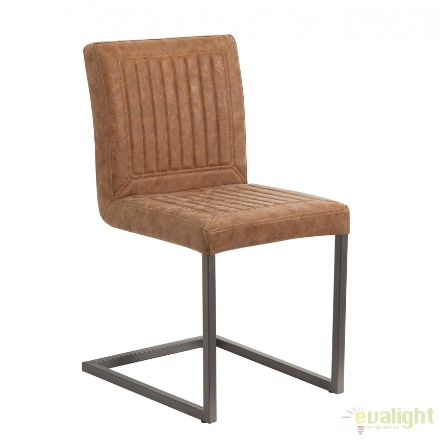 Set de 2 scaune design industrial vintage Cambridge, maro A-38214 VC, Seturi scaune dining, scaune HoReCa, Corpuri de iluminat, lustre, aplice, veioze, lampadare, plafoniere. Mobilier si decoratiuni, oglinzi, scaune, fotolii. Oferte speciale iluminat interior si exterior. Livram in toata tara.  a
