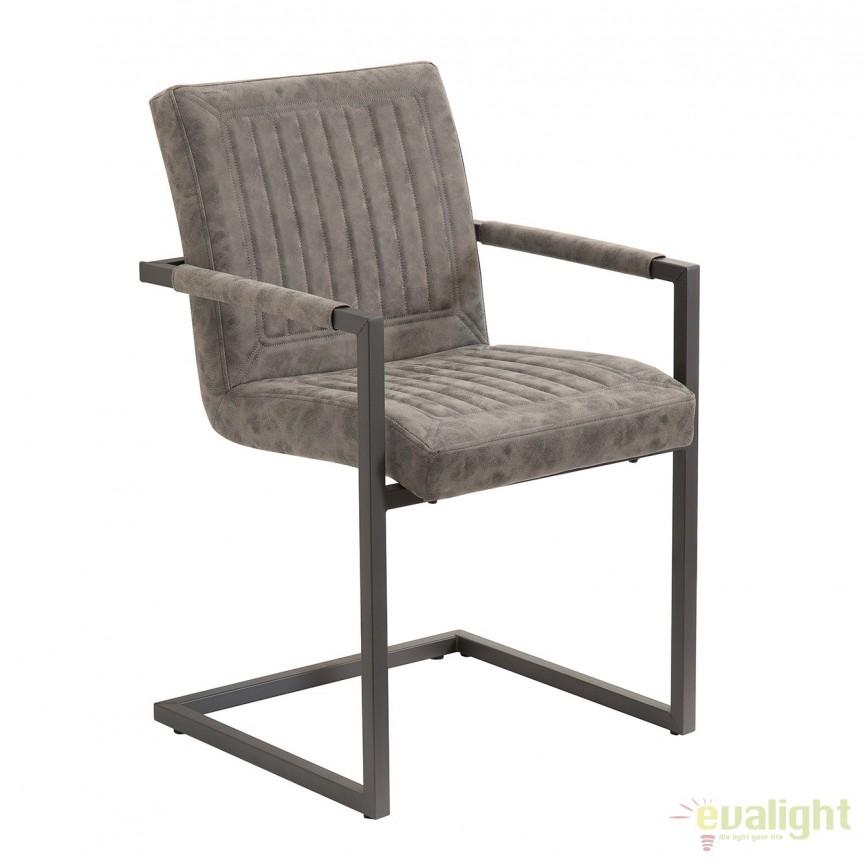 Set de 2 scaune cu brate design industrial vintage Cambridge, gri A-38212 VC, Seturi scaune dining, scaune HoReCa, Corpuri de iluminat, lustre, aplice, veioze, lampadare, plafoniere. Mobilier si decoratiuni, oglinzi, scaune, fotolii. Oferte speciale iluminat interior si exterior. Livram in toata tara.  a