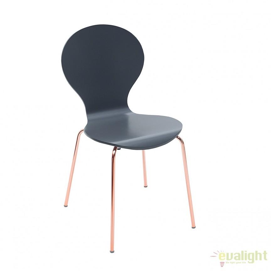 Set de 4 scaune Form antracit/ cupru A-37963 VC, Seturi scaune dining, scaune HoReCa, Corpuri de iluminat, lustre, aplice, veioze, lampadare, plafoniere. Mobilier si decoratiuni, oglinzi, scaune, fotolii. Oferte speciale iluminat interior si exterior. Livram in toata tara.  a