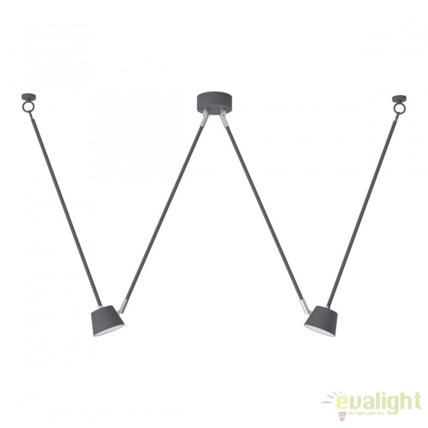 Lustra cu 2 pendule LED design industrial Markt, gri 717010402 MW, Lustre LED, Pendule LED, Corpuri de iluminat, lustre, aplice, veioze, lampadare, plafoniere. Mobilier si decoratiuni, oglinzi, scaune, fotolii. Oferte speciale iluminat interior si exterior. Livram in toata tara.  a