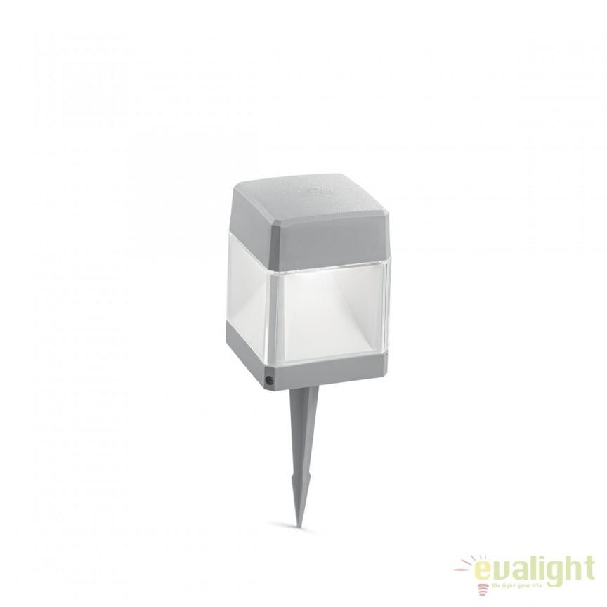 Stalp LED iluminat exterior design modern ELISA PT1 SMALL gri 187914, Stalpi de iluminat exterior mici si medii , Corpuri de iluminat, lustre, aplice, veioze, lampadare, plafoniere. Mobilier si decoratiuni, oglinzi, scaune, fotolii. Oferte speciale iluminat interior si exterior. Livram in toata tara.  a