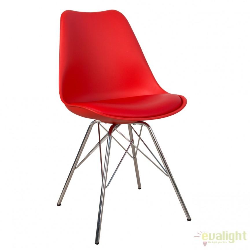Set de 4 scaune Scandinavia Retro, rosu A-37936 VC, Seturi scaune dining, scaune HoReCa, Corpuri de iluminat, lustre, aplice, veioze, lampadare, plafoniere. Mobilier si decoratiuni, oglinzi, scaune, fotolii. Oferte speciale iluminat interior si exterior. Livram in toata tara.  a