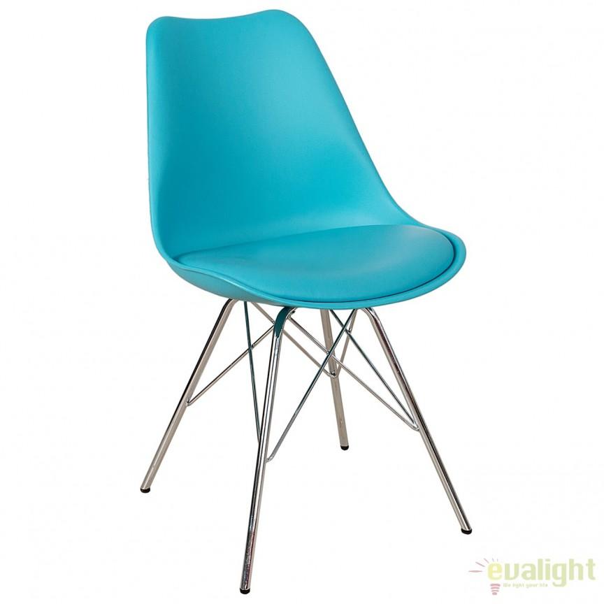 Set de 4 scaune Scandinavia Retro, turcoaz A-38222 VC, Seturi scaune dining, scaune HoReCa, Corpuri de iluminat, lustre, aplice, veioze, lampadare, plafoniere. Mobilier si decoratiuni, oglinzi, scaune, fotolii. Oferte speciale iluminat interior si exterior. Livram in toata tara.  a